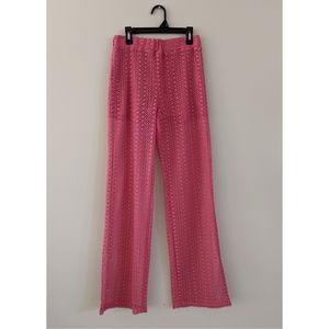 NEW Zara coral pink crochet palazzo pants